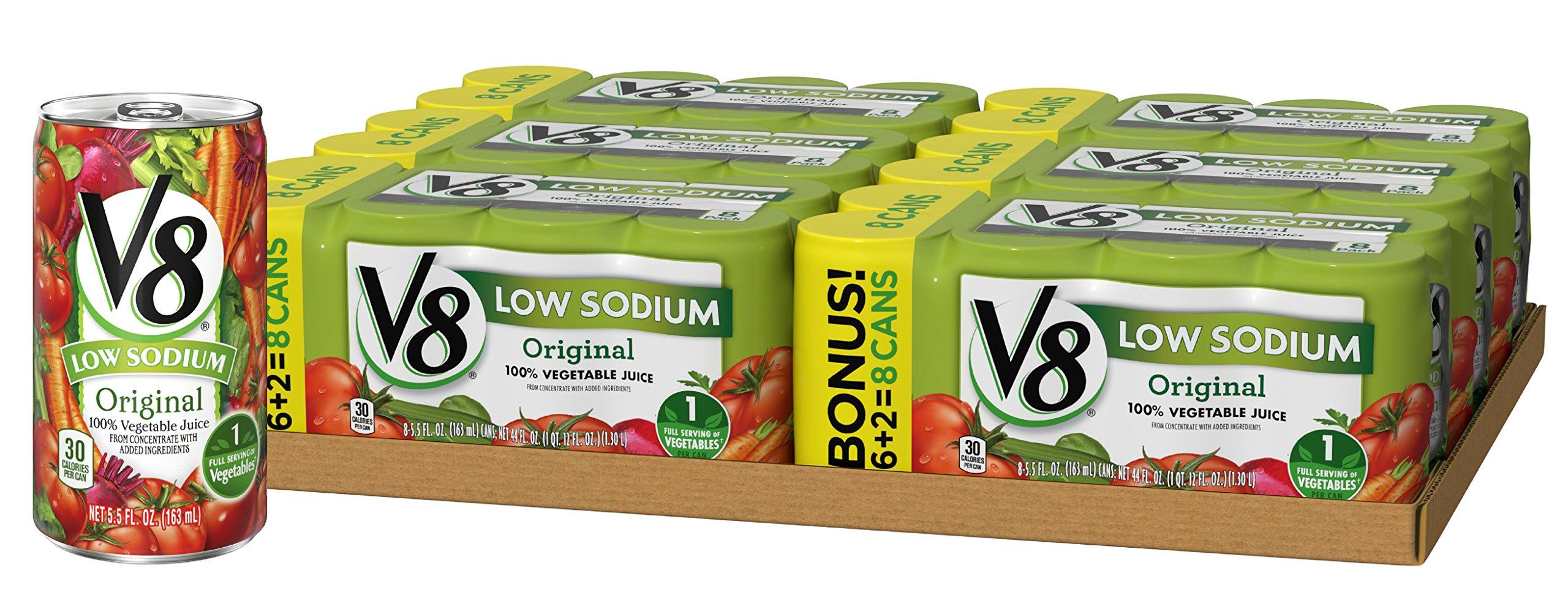 V8 Original Low Sodium 100% Vegetable Juice, 5.5 Fl Oz Can (6 packs of 8, Total of 48)