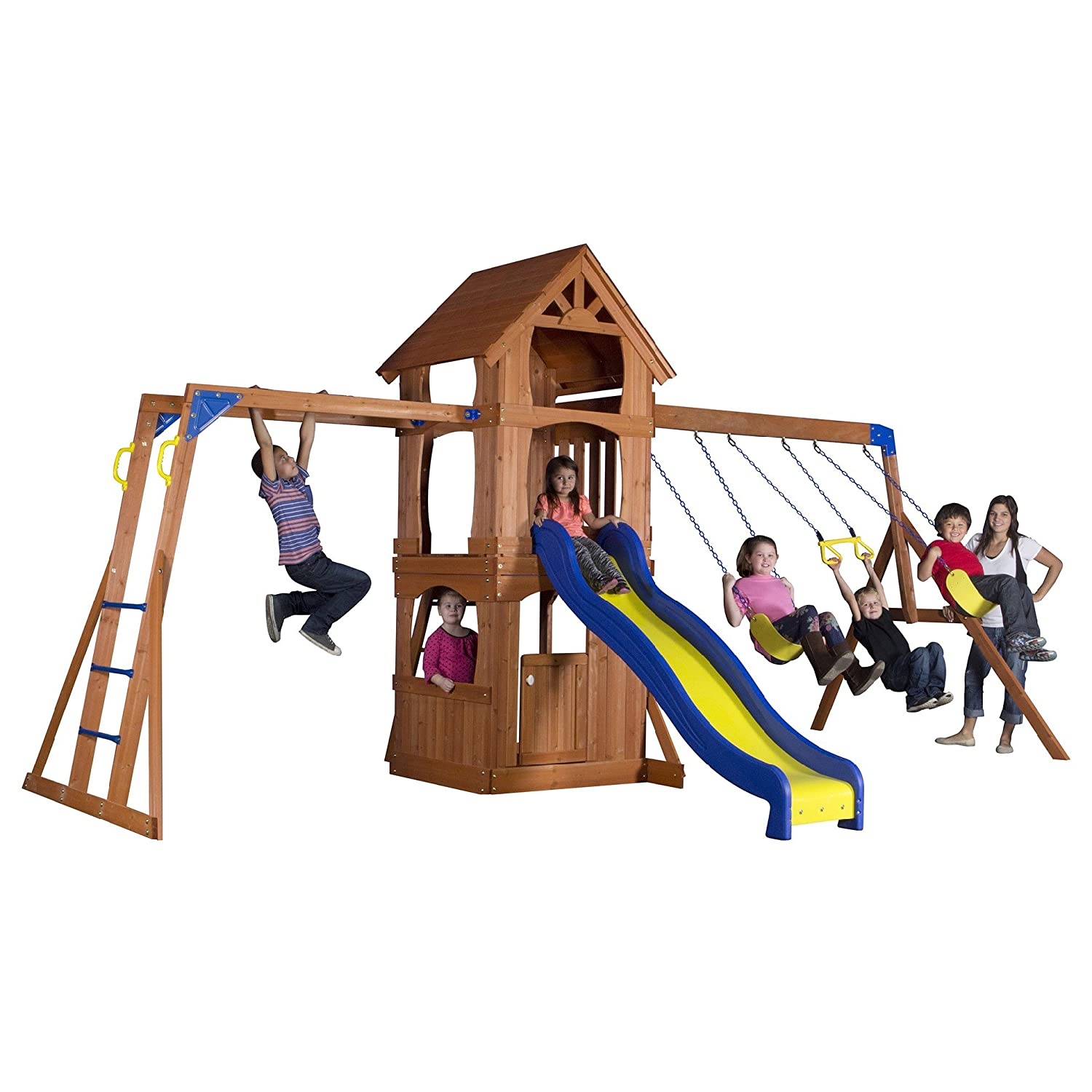amazon com backyard discovery parkway all cedar wood playset