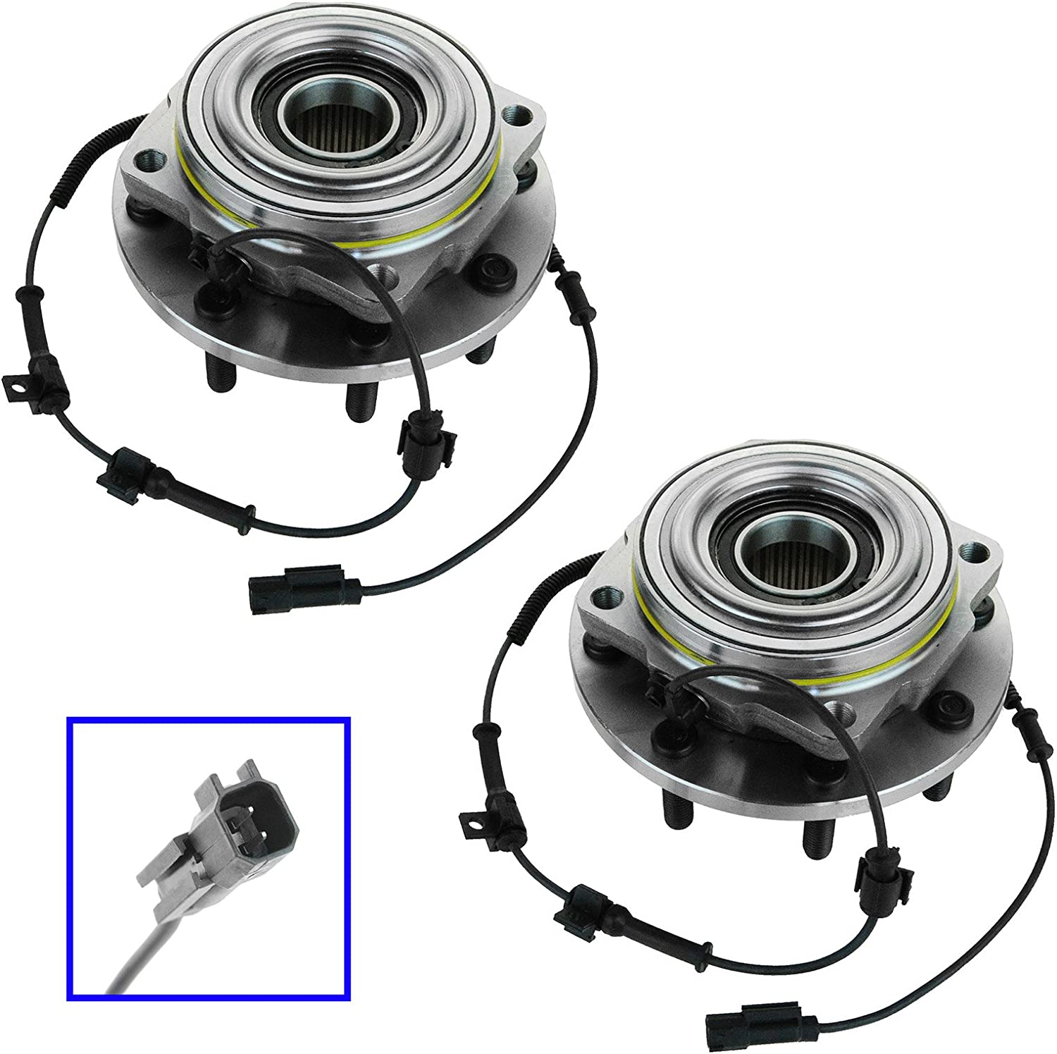 TRQ Wheel Bearing Hub Assembly Front Pair Set for Ford F350 Super Duty 4WD DRW