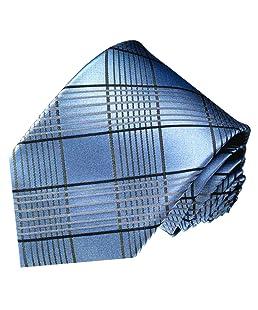 Lorenzo Cana - Blau taubenblau karierte Krawatte aus 100% Seide - Binder mit Karomuster in blau und grau - 84471