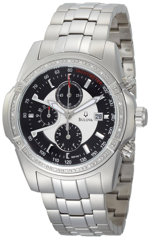 ブローバMen 's 96e108ダイヤモンドケースブラックダイヤルブレスレット腕時計 B003P1KVSC