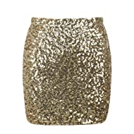 kayamiya Women's Sequin Mini Skirt Sparkle Stretchy Bodycon Party Club Short Skirts Nightout