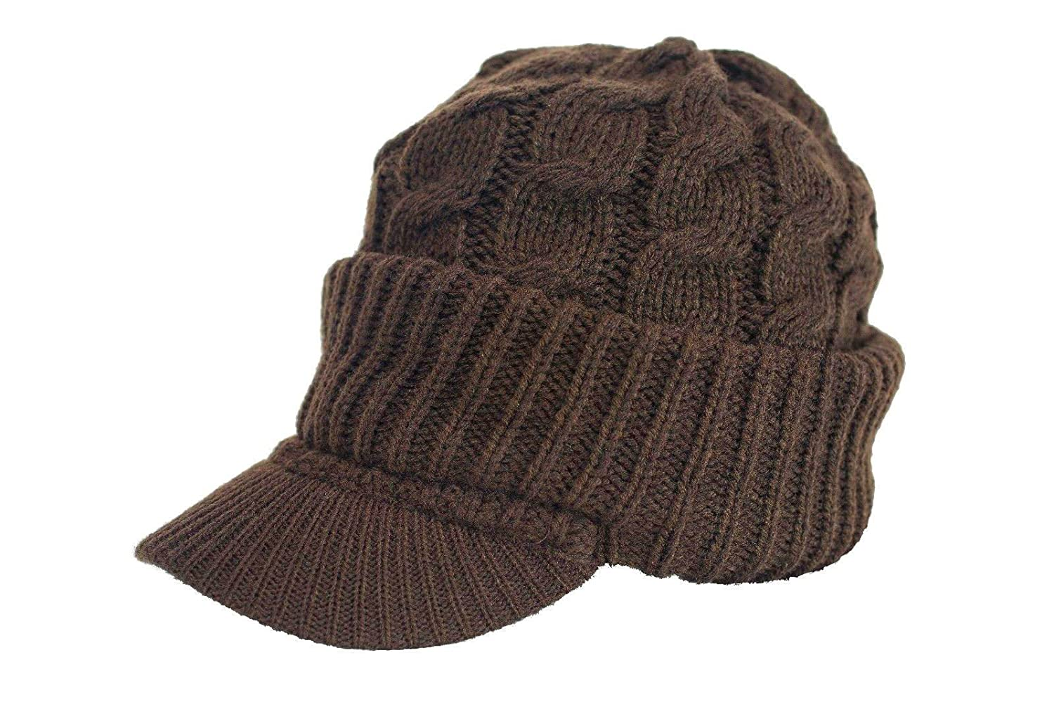 Urbanhatshop Newsboy Cable Knitted Visor Beanie Bill Winter Warm Hat All Colors