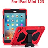 iPad Mini Case, ACEGUARDER Full Body Protective Cover Kids Shock Proof Case with Built-in Screen Protector & Adjustable Kickstand for iPad Mini 1 2 3 (Red/Black)