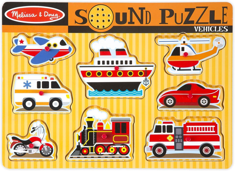 Farm and Vehicles Wooden Peg Puzzles 2008 Melissa /& Doug Sound Puzzles Set