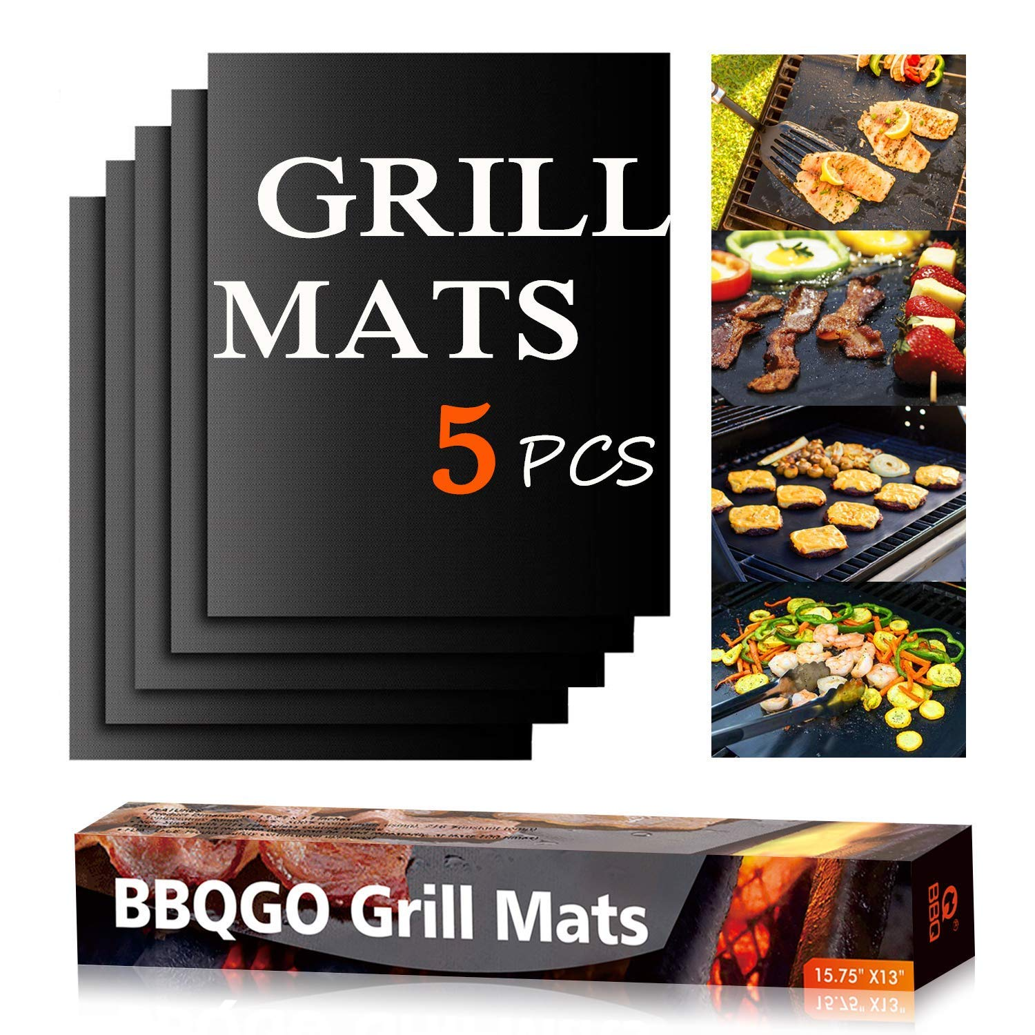 BBQGO Grill Mat, Non Stick Barbecue Mat with PTFE Surface, Easy to Clean, Reusable, High Temperature Resistant Teflon Cooking Mat for Gas, Charcoal, Electric Grill, 15.75x13 Inch, Set of 5 by BBQGO