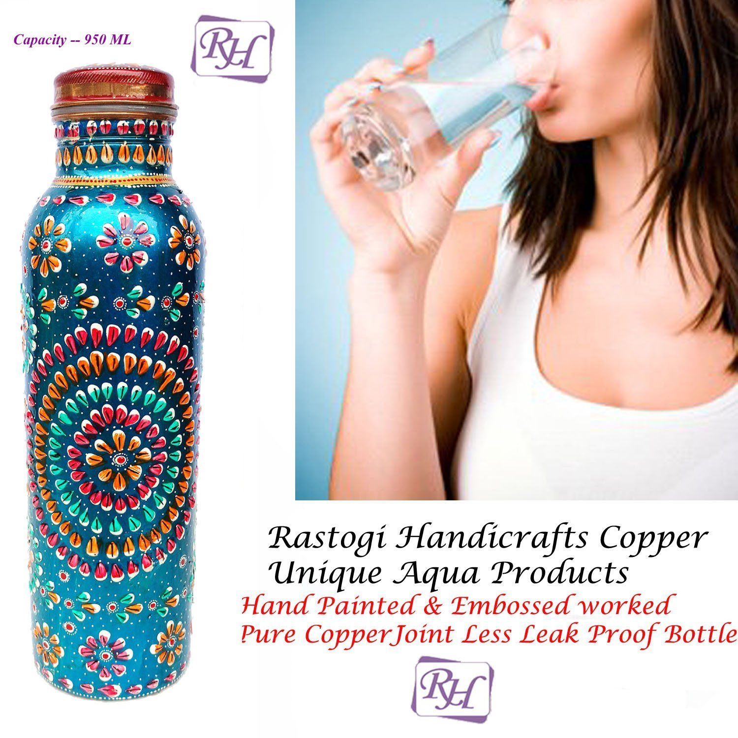 Rastogi Handicrafts Copper Joint less leak-proof Water storage Bottle for Health Benefit Set of 4 With One Insulated Bag (FREE) by Rastogi Handicrafts (Image #3)