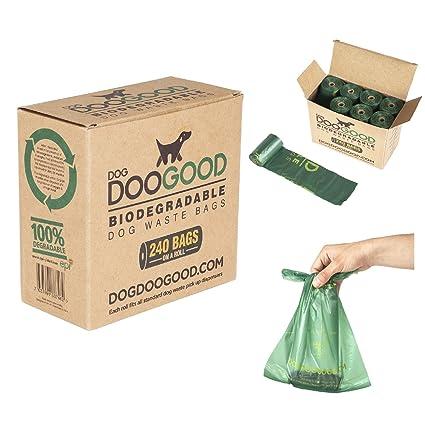 Bolsas biodegradables para heces de perro, Dog Doo Good en un rollo (x240), respetuosas con el medio ambiente, grandes, resistentes, de plástico ...