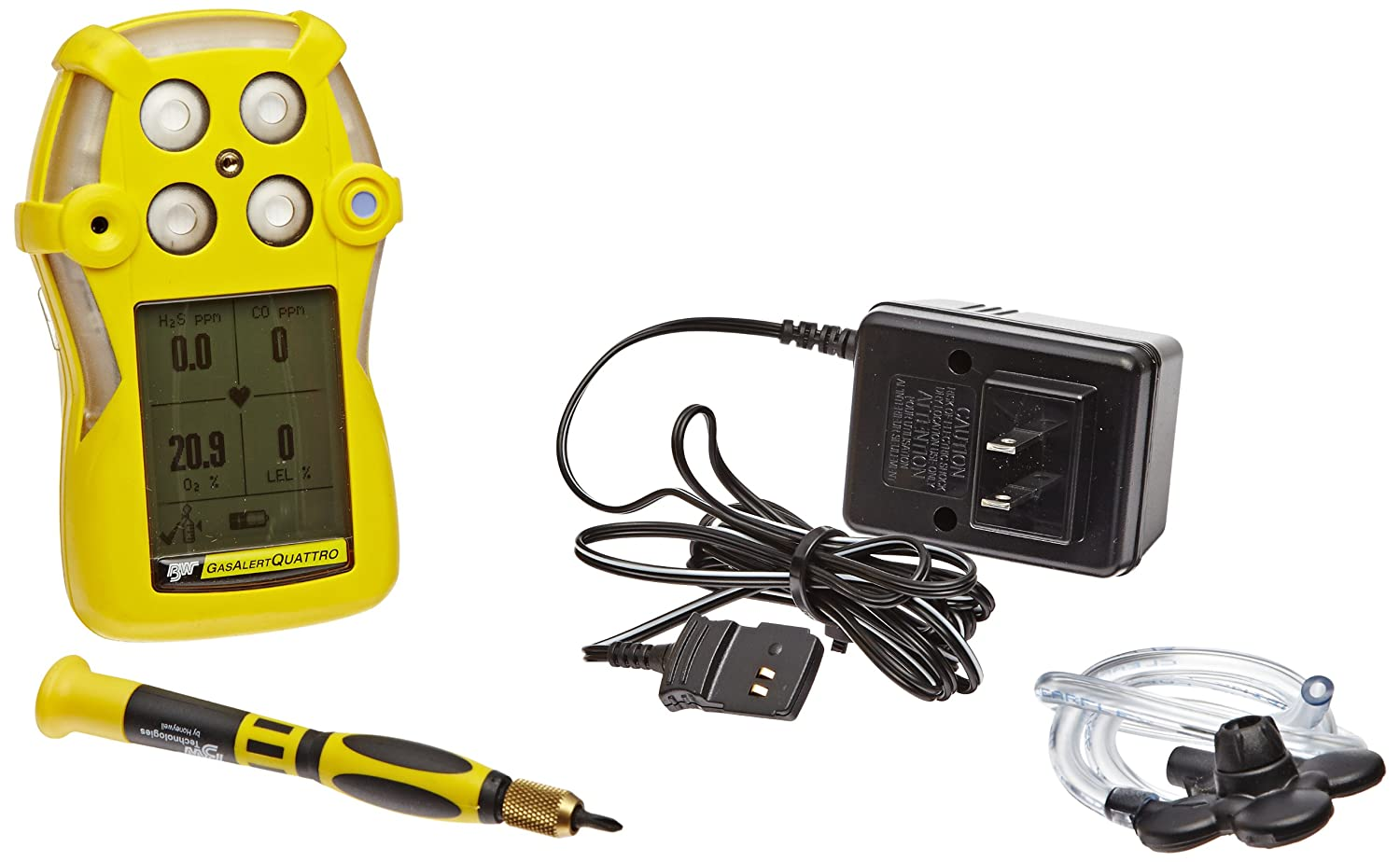 BW Technologies QT-XWHM-R-Y-NA GasAlertQuattro 4-Gas Detector with Rechargeable Battery, Combustible, O2, H2S and CO, Yellow