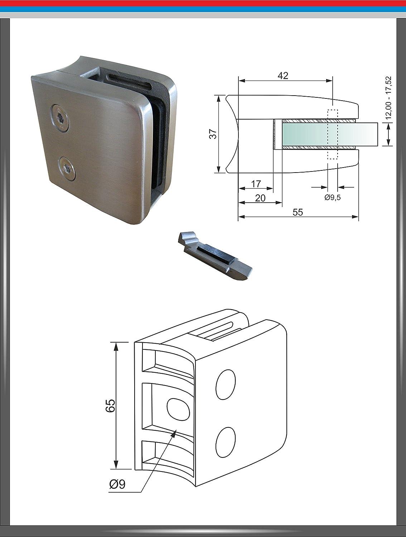 Sicherungsplatte Edelstahl V2A Glashalter für Rohr 42,4 Glasklemme Glass Clamp