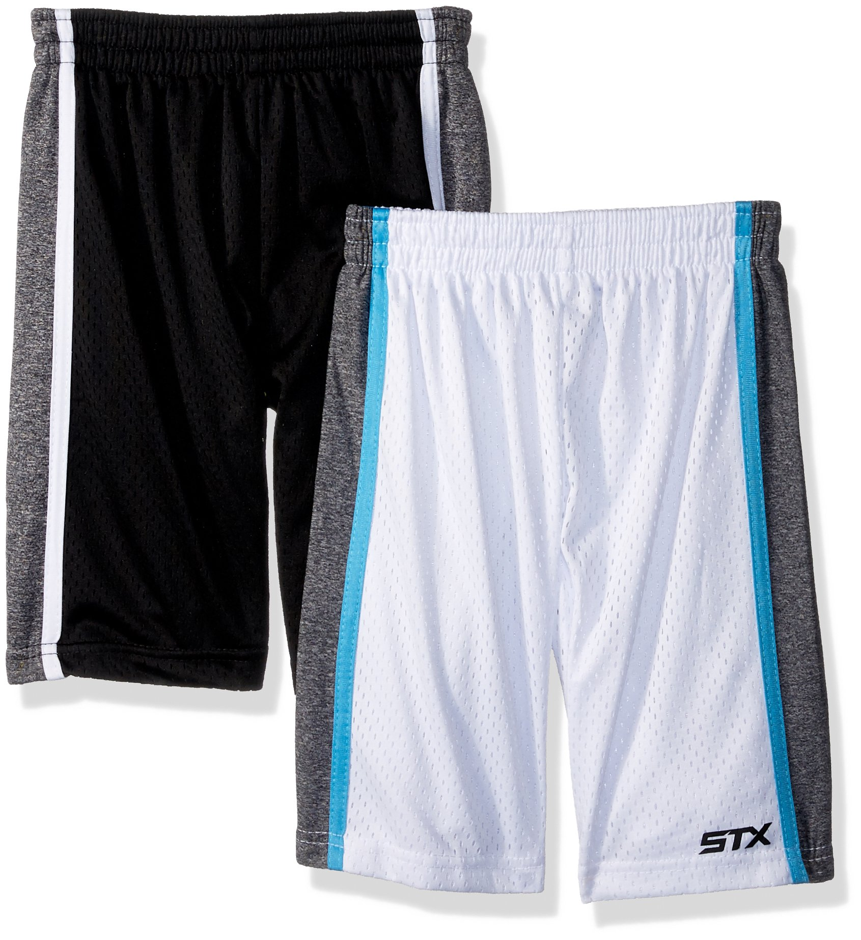 STX Fashion Toddler Boys' 2 Pack Performance Athletic Sport Shorts, Black/White, 2T