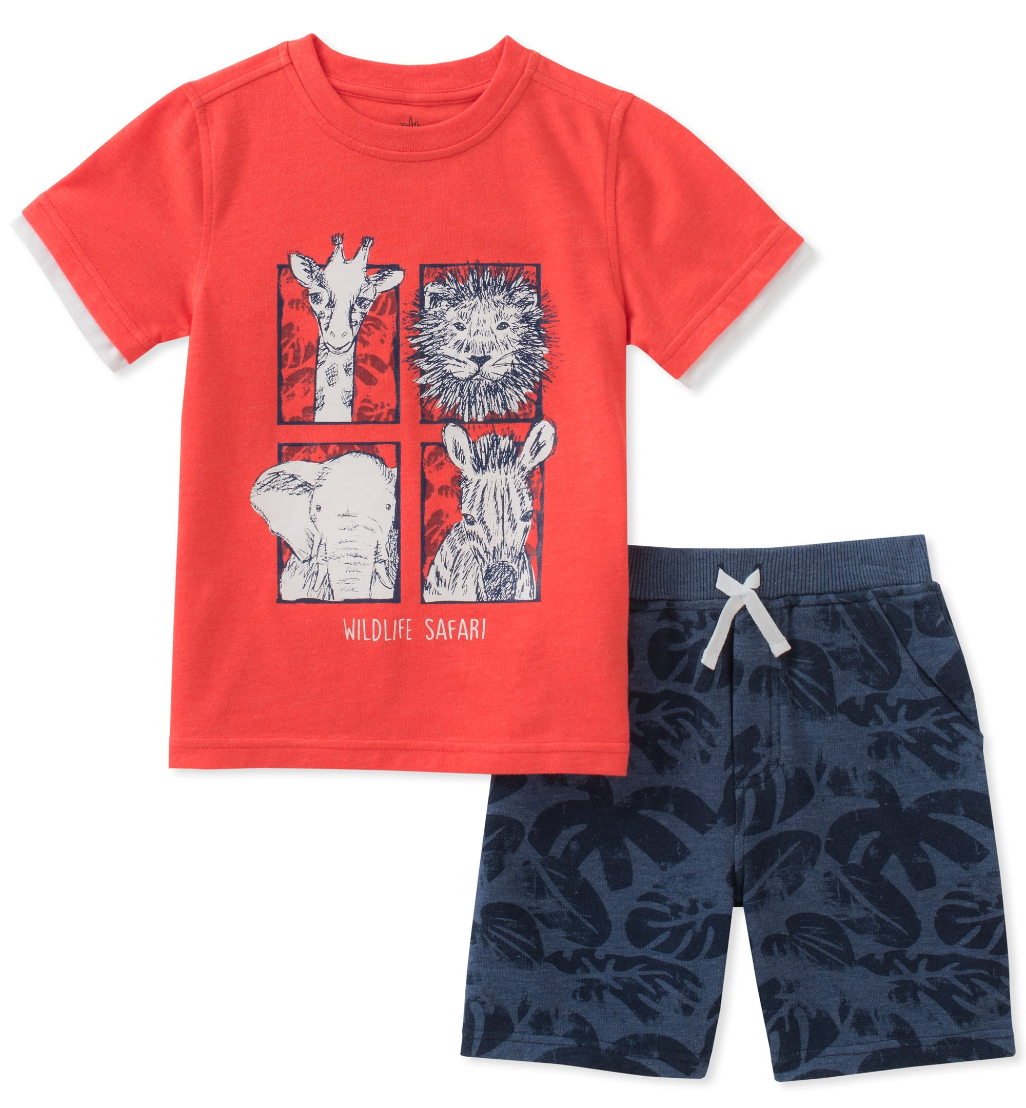 Kids Headquarters Toddler Boys' 2 Pieces Short Set, Red/Print, 4T