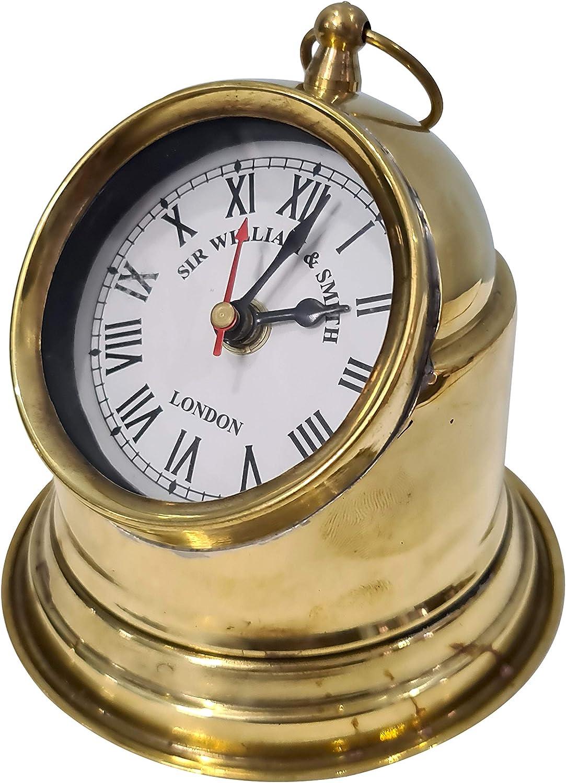 Nautical Ship Binnacle Clock Desktop Vintage Gimballed Design Quartz Movement Home Decor Collectible