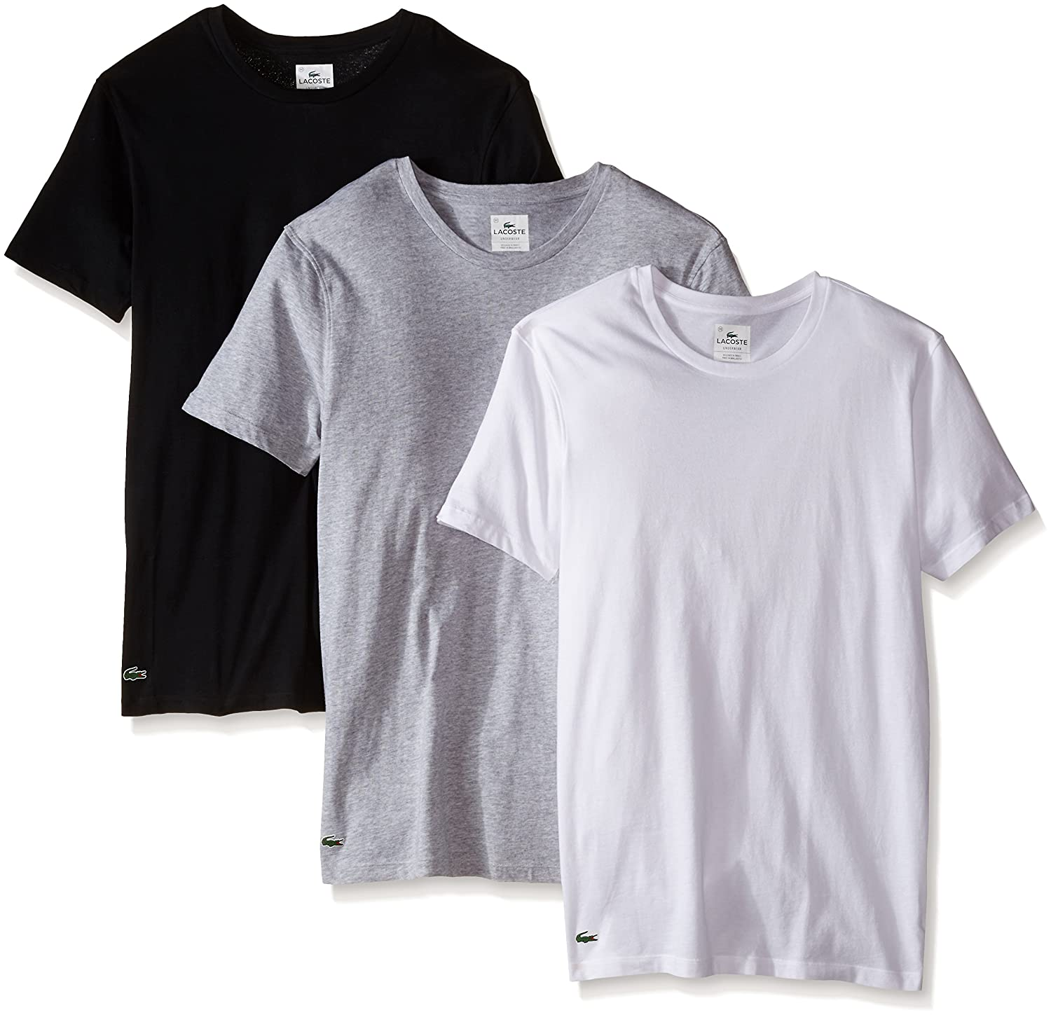 T shirt white black - Lacoste Men S Essentials Cotton Crew Neck T Shirt Pack Of 3 At Amazon Men S Clothing Store