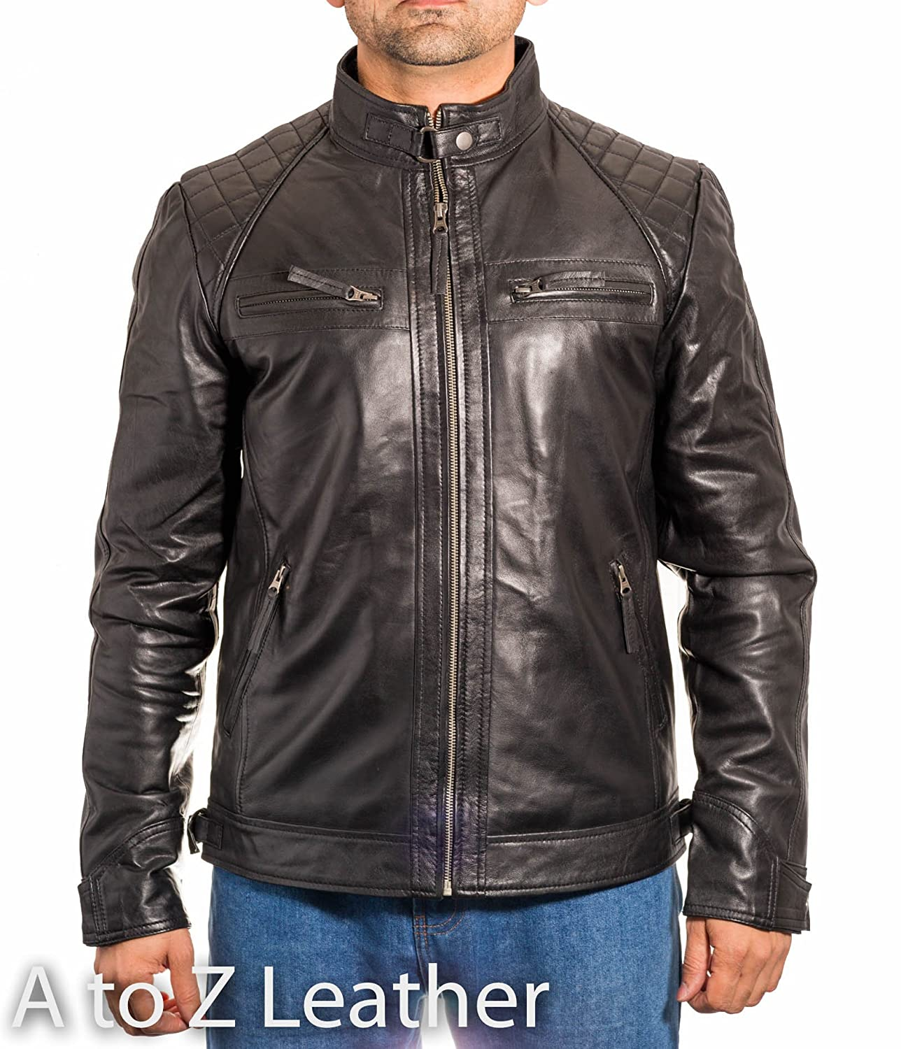 Mens Black Vintage Leather Quilted Smart Fitted Retro Zipped Biker Jacket