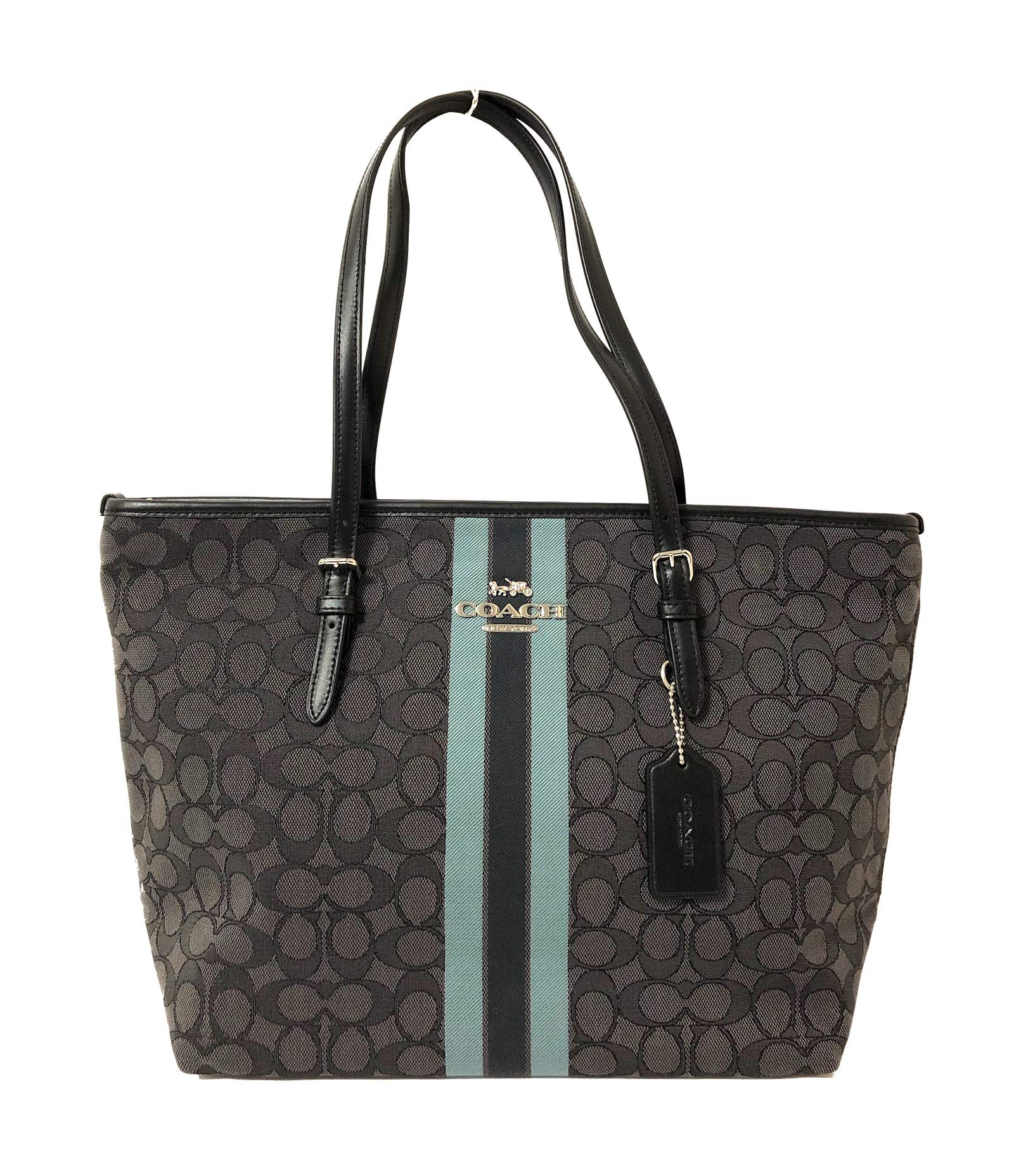 Coach Signature Zip Tote Shoulder Handbag (SV/Black Multi)