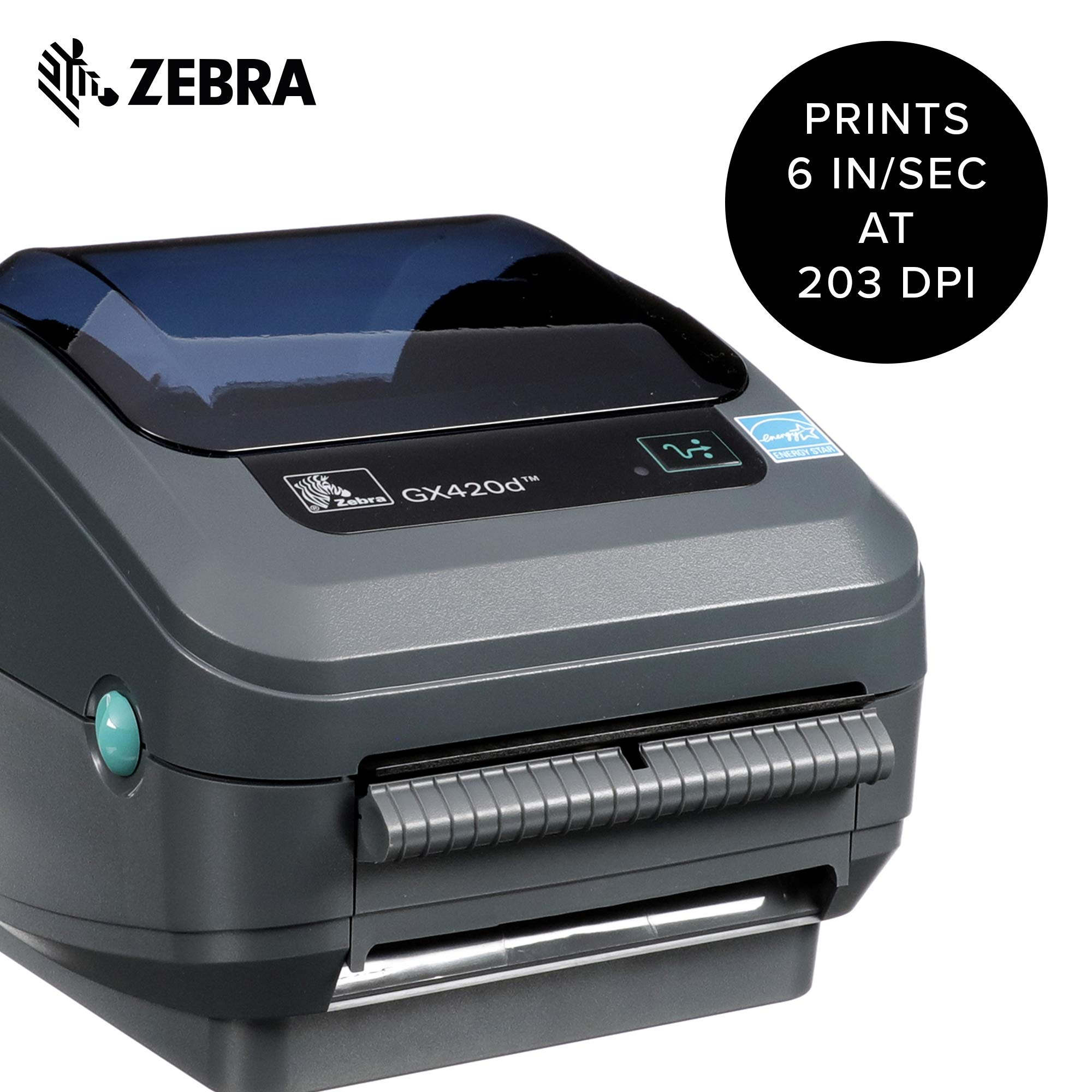 Zebra - GX420d Direct Thermal Desktop Printer for Labels, Receipts, Barcodes, Tags, and Wrist Bands - Print Width of 4 in - USB, Serial, and Parallel Port Connectivity (Includes Peeler) by ZebraNet (Image #2)