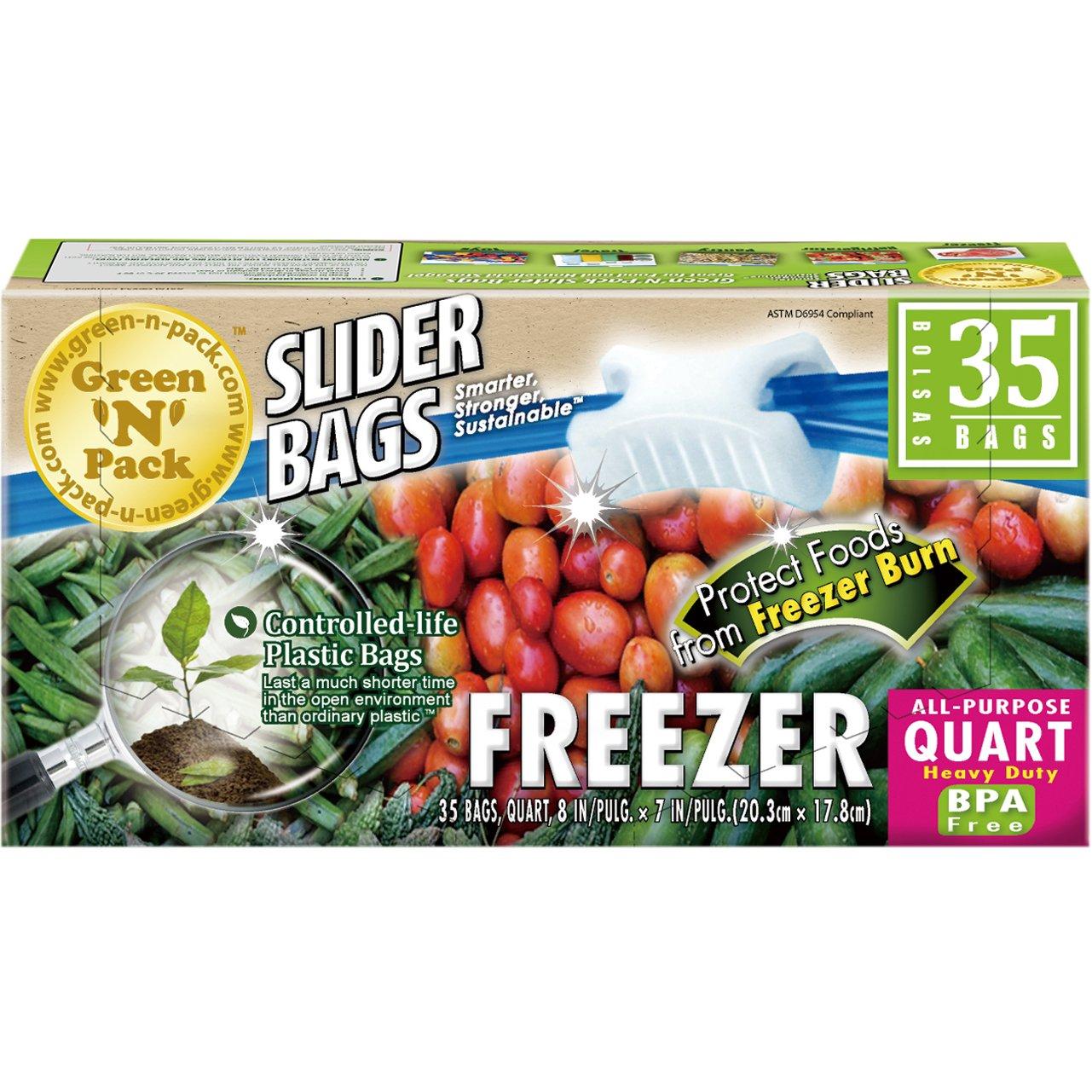 Green N Pack Premium Freezer Slider Bags (BPA Free), Quart, 35 Count