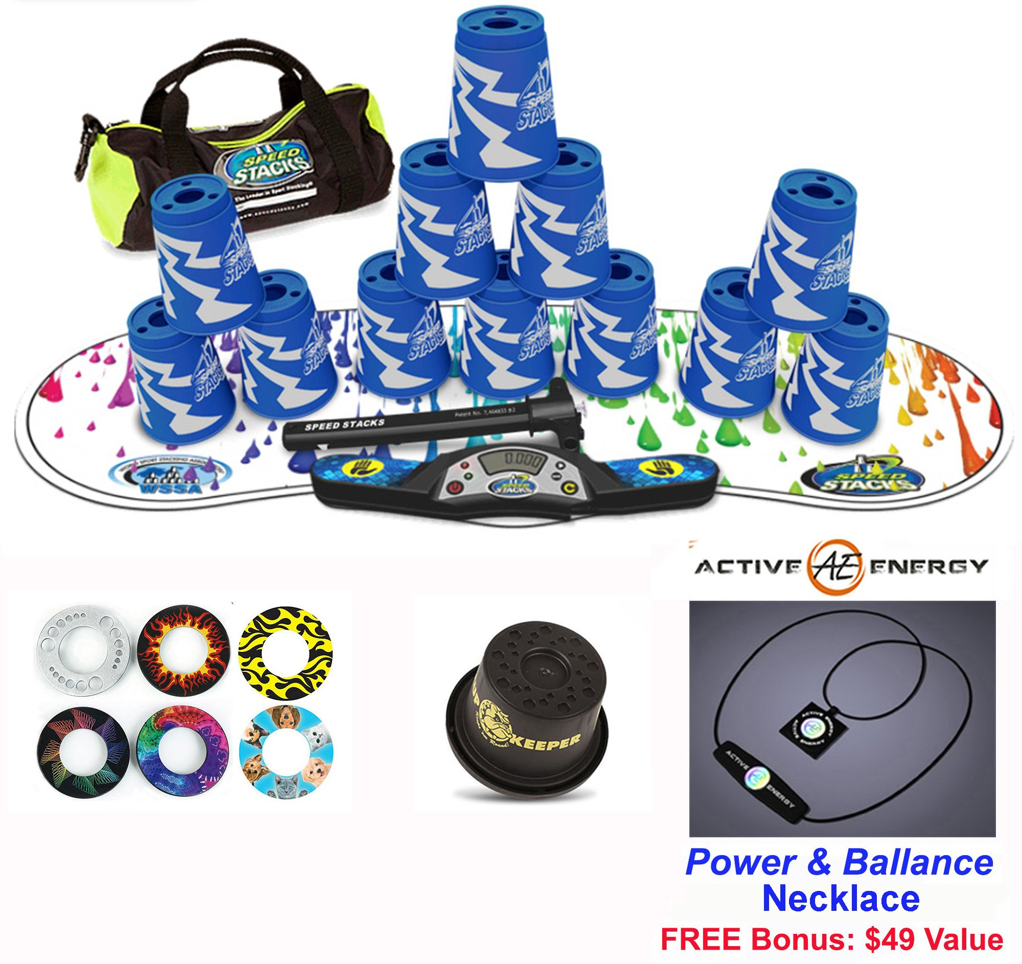 Speed Stacks Combo Set ''The Works'': 12 ATOMIC PUNCH 4'' Cups, RAINBOW DROP Gen 3 Mat, G4 Pro Timer, Cup Keeper, Stem, Gear Bag + Active Energy Necklace