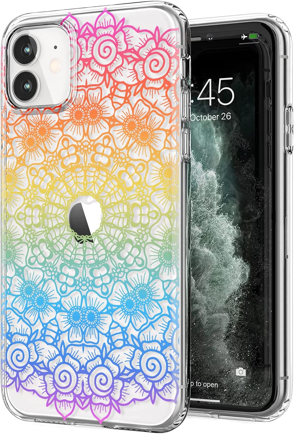 Tenpon iPhone 11 Case, Clear Cute Rainbow Floral Flowers Pattern Design for Girls Women, Ultra Thin Shockproof Soft TPU Cover Protective Phone Case for iPhone 11 6.1 inch