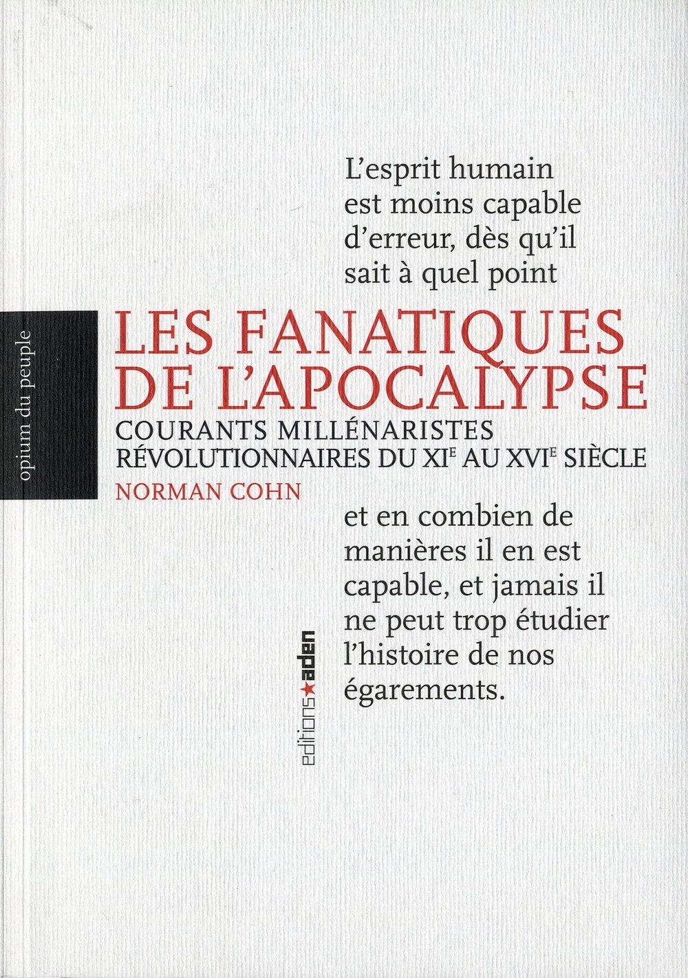 """Résultat de recherche d'images pour """"L'APOCALYPSE COURANTS MILLÉNARISTES RÉVOLUTIONNAIRES - Norman cohn"""""""
