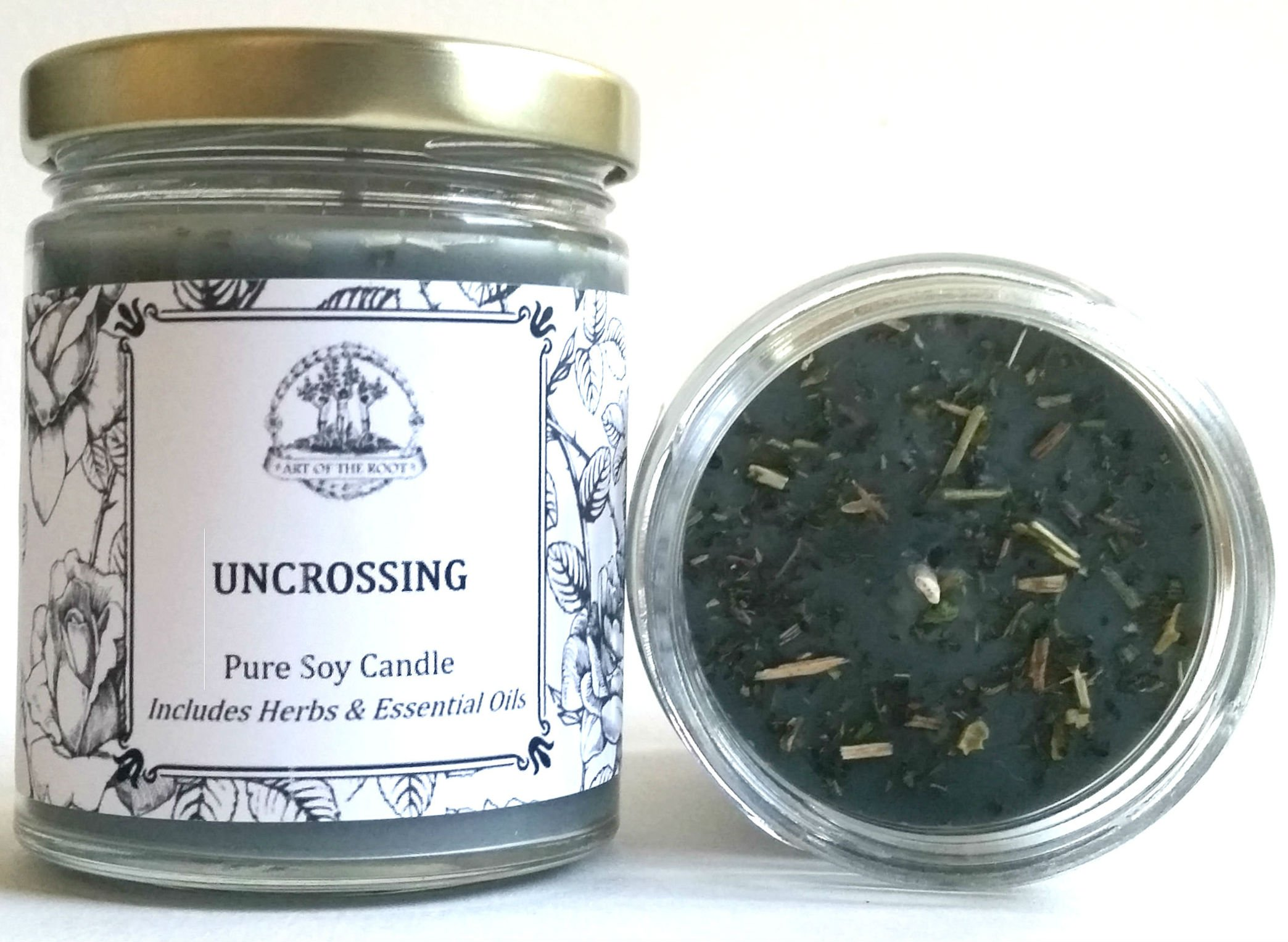 Art of the Root Uncrossing 8 oz Soy Herbal Spell Candle for Hexes, Curses, Jinxes & Negativity Hoodoo Wiccan Pagan Voodoo Magick
