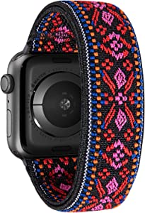 Nomchi Double Layer Loop Elastic Compatible/Replacement Band for Apple Watch 38mm 40mm 42mm 44mm (Red Embroidery, Wrist Size: 5.5-5.9 inch (S),38mm/40mm)
