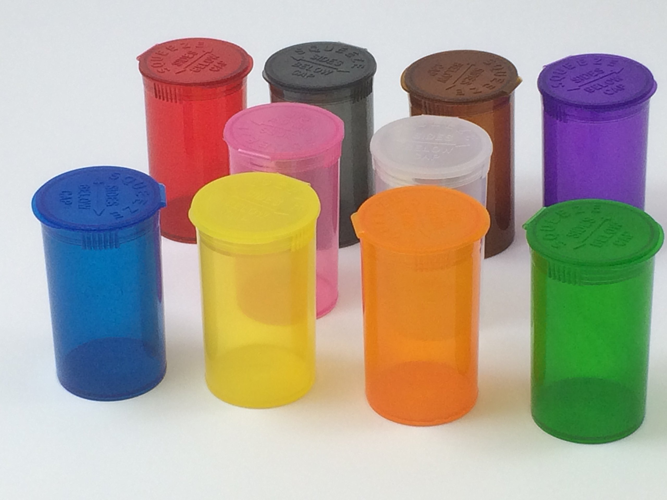 (15 Pack) 13 Dram Pill Bottle Squeezies Squeeze-top Pill Bottles Rx Prescription Crafts Coins Storage Medicine Containers 10 Assorted Colors You Pick (Mixed) by Cute Containers