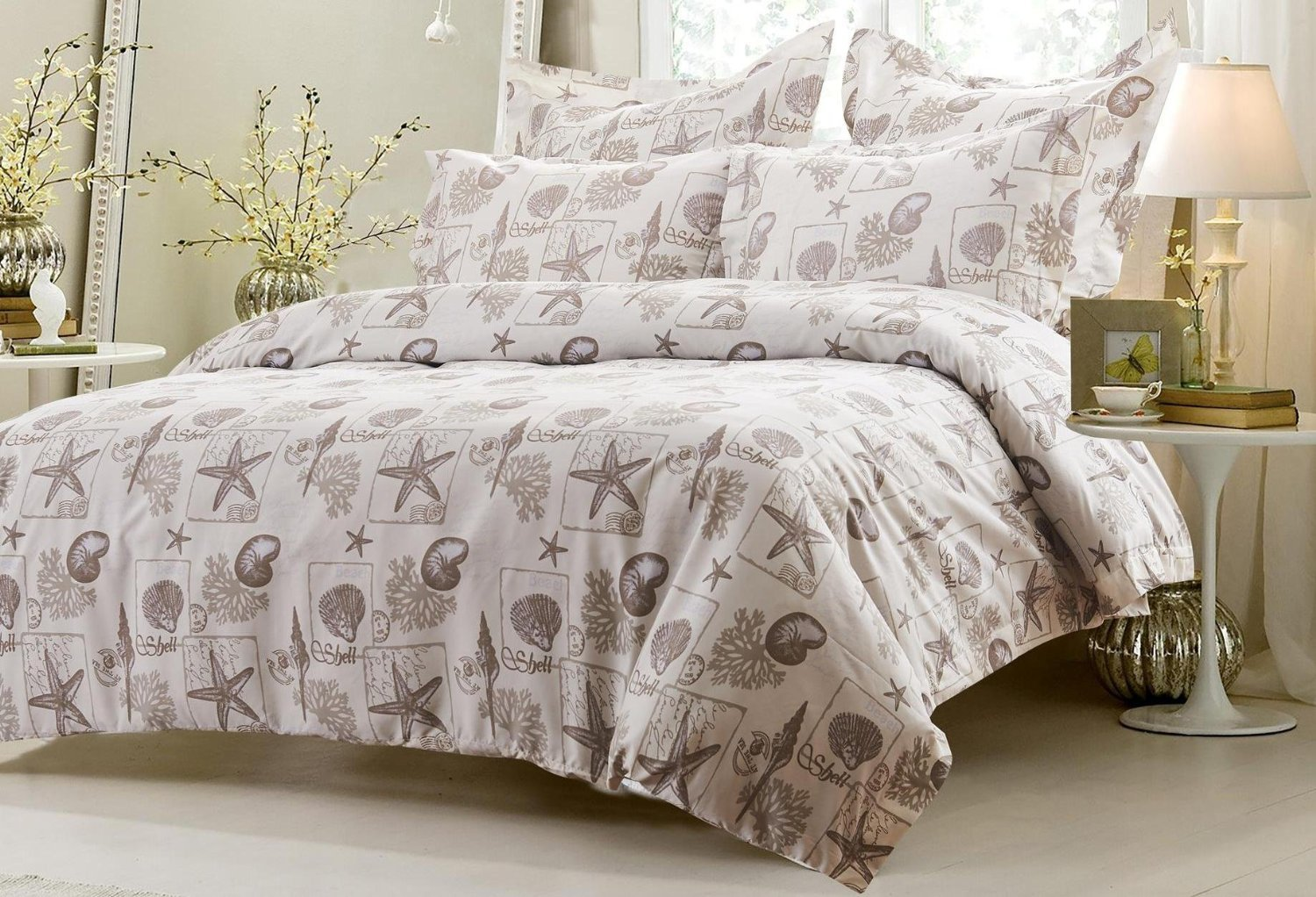 6pc Seashell Beige Bedding Set
