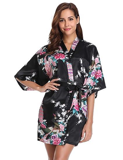 c1fb0a1e71 Vlazom Satin Kimono Robes Short Women Floral Nigthwear Dressing Gown for Bride  Bridesmaids Wedding Party Black