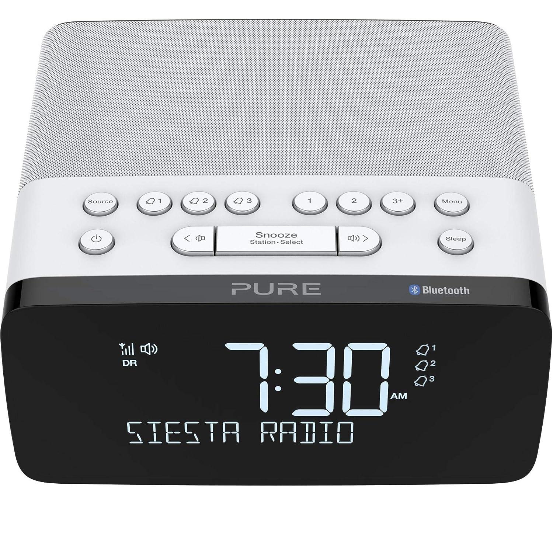 Polar Pure Siesta Charge Bluetooth DAB+//DAB//FM Digital Radio Alarm Clock Bedside DAB Radio with Qi Wireless Charging Pad for Smartphones and CrystalVue LCD Display with Auto-Brightness