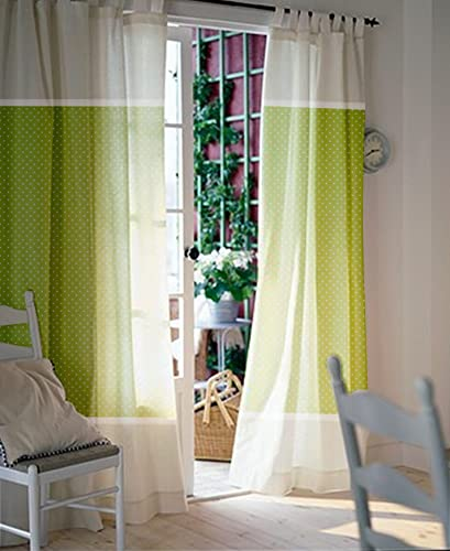 Window Curtains   Nursery Curtains   Kids Curtains   Pair Of 84L 45W Inch    Green And White Polka Dot And Stripes Curtains   Green Drapes   Baby Girl  ...