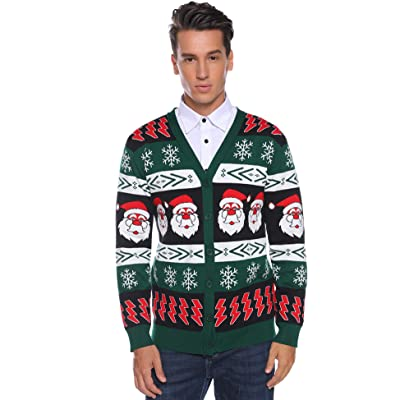 Aibrou Mens Ugly Christmas Cardigan Sweaters Snowflake Santa Holiday Sweater at Men's Clothing store
