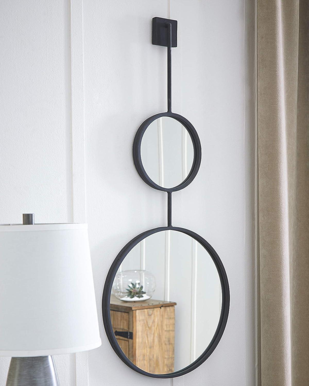 Signature Design By Ashley Brewer Accent Mirror Contemporary Round Metal Frames Black Home Kitchen