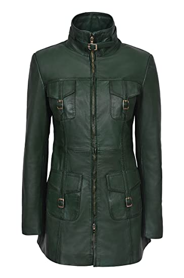 New Mistress Ladies Dark Green Wax Washed Gothic Style Real Leather