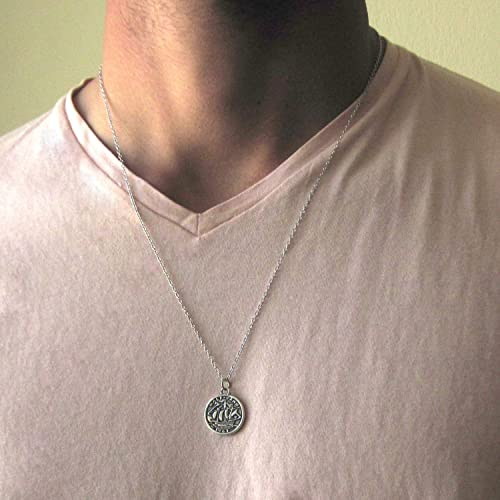 6610999b2e9b5 Amazon.com: Mens Silver Plated Coin Necklace - Length: 24 inch + 2 ...
