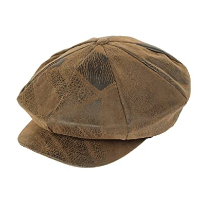 fcf6d547ffb WITHMOONS Newsboy Hat Vintage Faux Leather Suede Beret Cap LDG1082 (Brown)