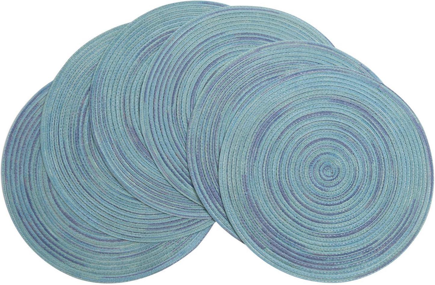 Pauwer Baumwolle 38cm//15inch Runde Platzsets Set von 6 Abwaschbar Hitzebest/ändig Gewebte Tischsets rutschfest Platzdeckchen f/ür K/üche Speisetisch,Blau