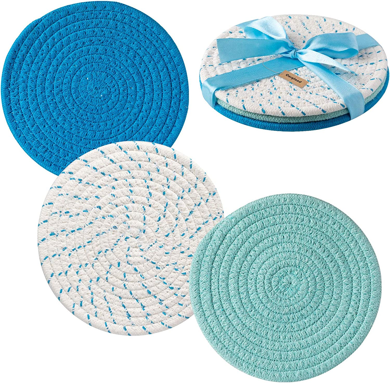 COSYLAND Potholders Trivets Set 100% Pure Cotton Thread Weave (Set of 3) Stylish Coasters, Hot Pads, Hot Mats,Spoon Rest for Cooking and Baking by Diameter 7 Inches