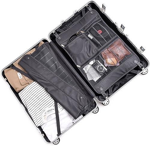 Aluminum Frame Carry On, Durable PC Hardshell TSA Lock Luggage Suitcase with Spinner Wheels 20 Inch Black