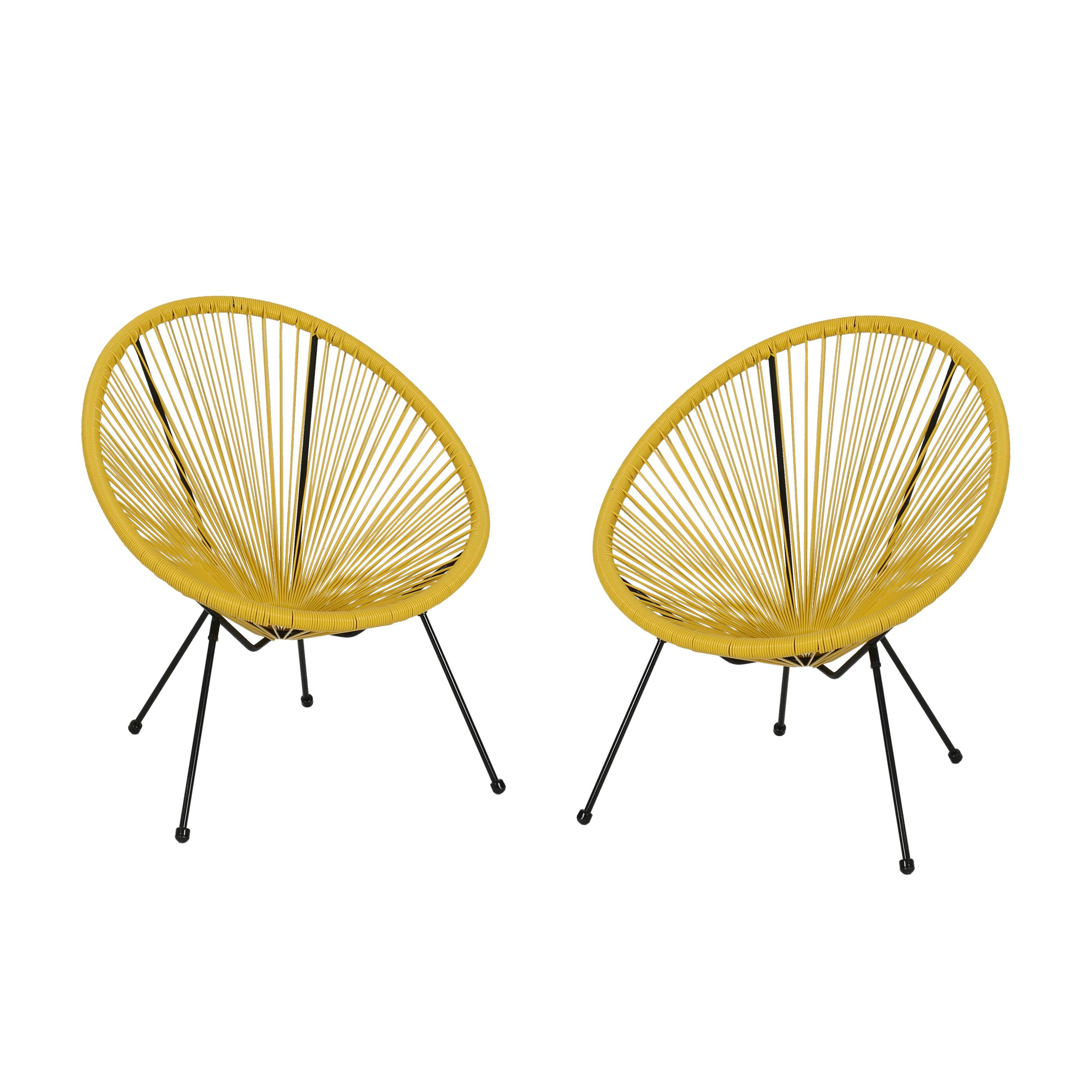 Great Deal Furniture Major Outdoor Hammock Weave Chair with Steel Frame (Set of 2) - Yellow and Black Finish