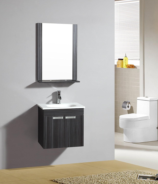 SixBros. Badezimmermöbel Set - Badmöbel Wenge Lazio - Spiegel - Unterschrank - Waschbecken - M-70107 1192