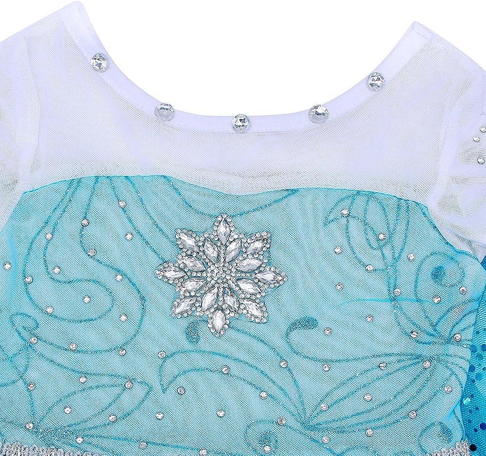 AmzBarley Robe de Princesse Reine des Neiges pour Fille Habiller de Enfant Costume D/éguisement Halloween Carnaval Cosplay F/ête Soir/ée Anniversaire