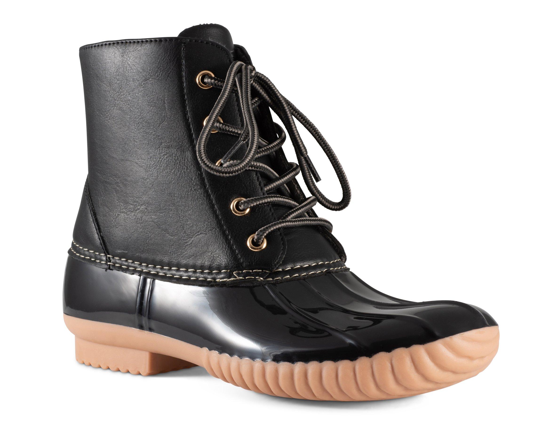 Twisted Women's Becca Two-Tone Insulated Duck Rain Boot- BECCA04 Black/Black, Size 10