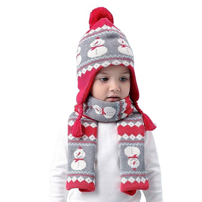Niños Niñas de punto gorro y bufanda Navidad Motivo 2pzs Conjunto invierno  Bebé Lindo 6 meses a 8 años Sombrero cálido Pom-Pom gorra pañuelo  Amazon.es   ... f24eef02468