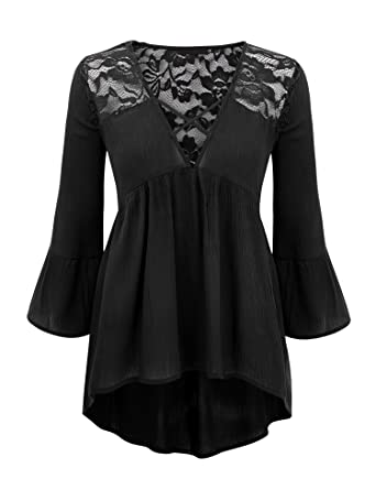 c3ce05835e Womens V Neck 3/4 Sleeve Babydoll lace Blouse top at Amazon Women's ...