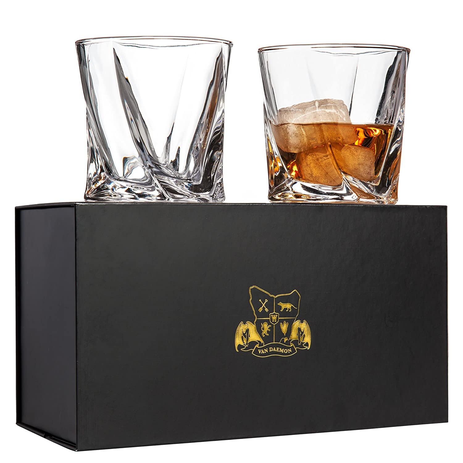 Twist Whiskey Glasses Set of 2. Lead Free Crystal Rocks Tumblers (10oz) by Van Daemon for Liquor, Bourbon or Scotch. Perfectly Gift Boxed. M13684-100