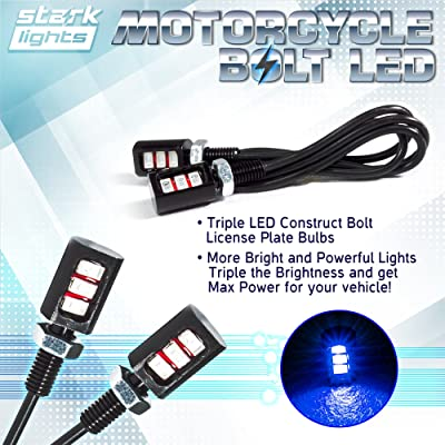 Car/Motorcycle License LED Bolt Screw - Triple Row SMD - High Power License Plate LED Light - Blue 10000K: Automotive
