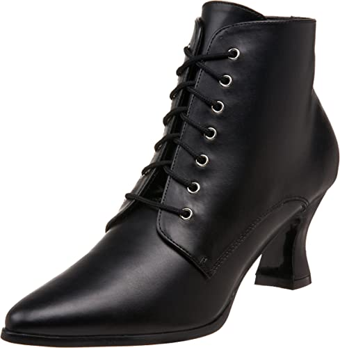 Black Lace Up Victorian Ankle Womens Boots