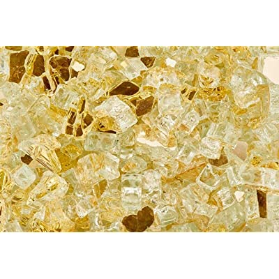 Exotic 100533009 Pebbles Reflective Fire Glass Gold 0.5in 2ea/12lb, White : Garden & Outdoor